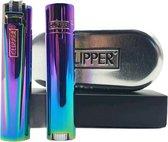Clipper Aansteker Classic Large Metal / Metalen Icy / Rainbow (2 Stuks)