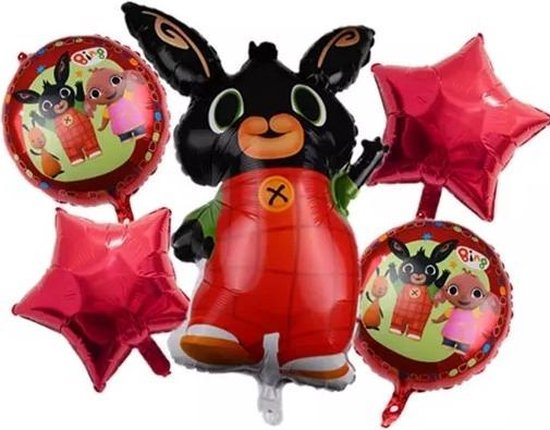 Ballonboeket Bing, 5 delige set folieballon - kindercrea