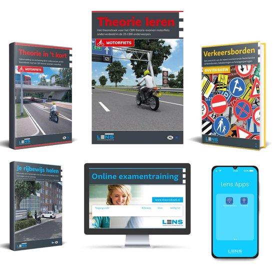 MotorTheorieboek 2021 - Rijbewijs A - Inclusief 10 uur Online, Samenvatting, Apps, CBR Rijbewijs Halen en Verkeersborden -  Compleet Pakket 2021
