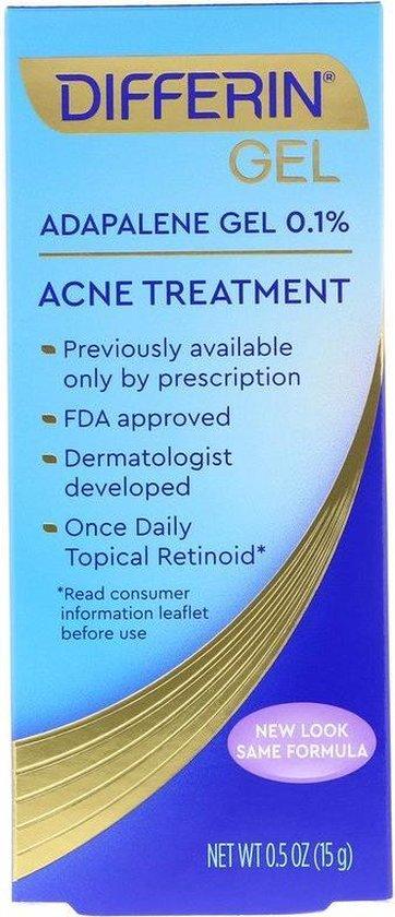 Differin, Adapalene Gel 0.1 %, Acne Treatment, 0.5 oz - 15g