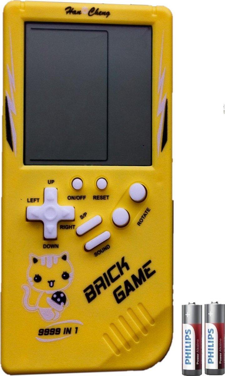 Tetris Handheld Spelcomputer - Extra Groot Scherm - Classic Gameboy met Brickgame - Geel - Inclusief