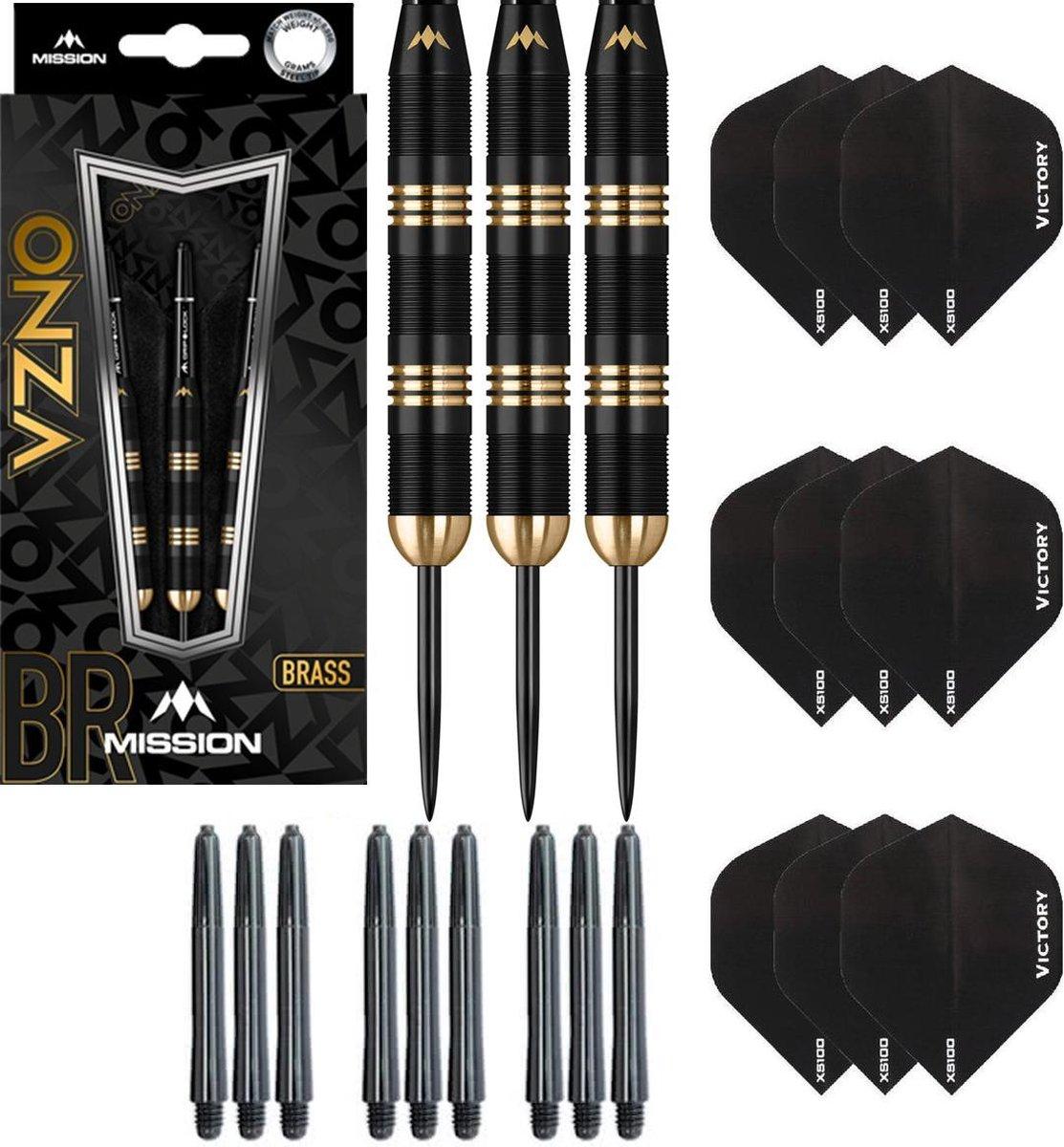 Dragon Darts Onza 100% brass - dartpijlen - 24 gram - inclusief 9 - darts shafts - en 9 - darts flights