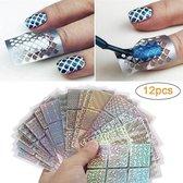 GUAPÀ - Nail Art Nagel Sjabloon Stickers 12 vellen - Zelfklevende Nagelstickers & Nageldecoratie