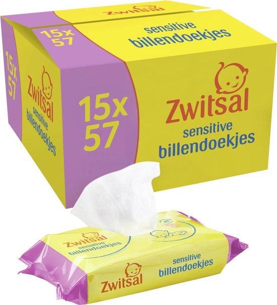 Zwitsal Sensitive Billendoekjes - 15 x 57 billendoekjes - Voordeelverpakking