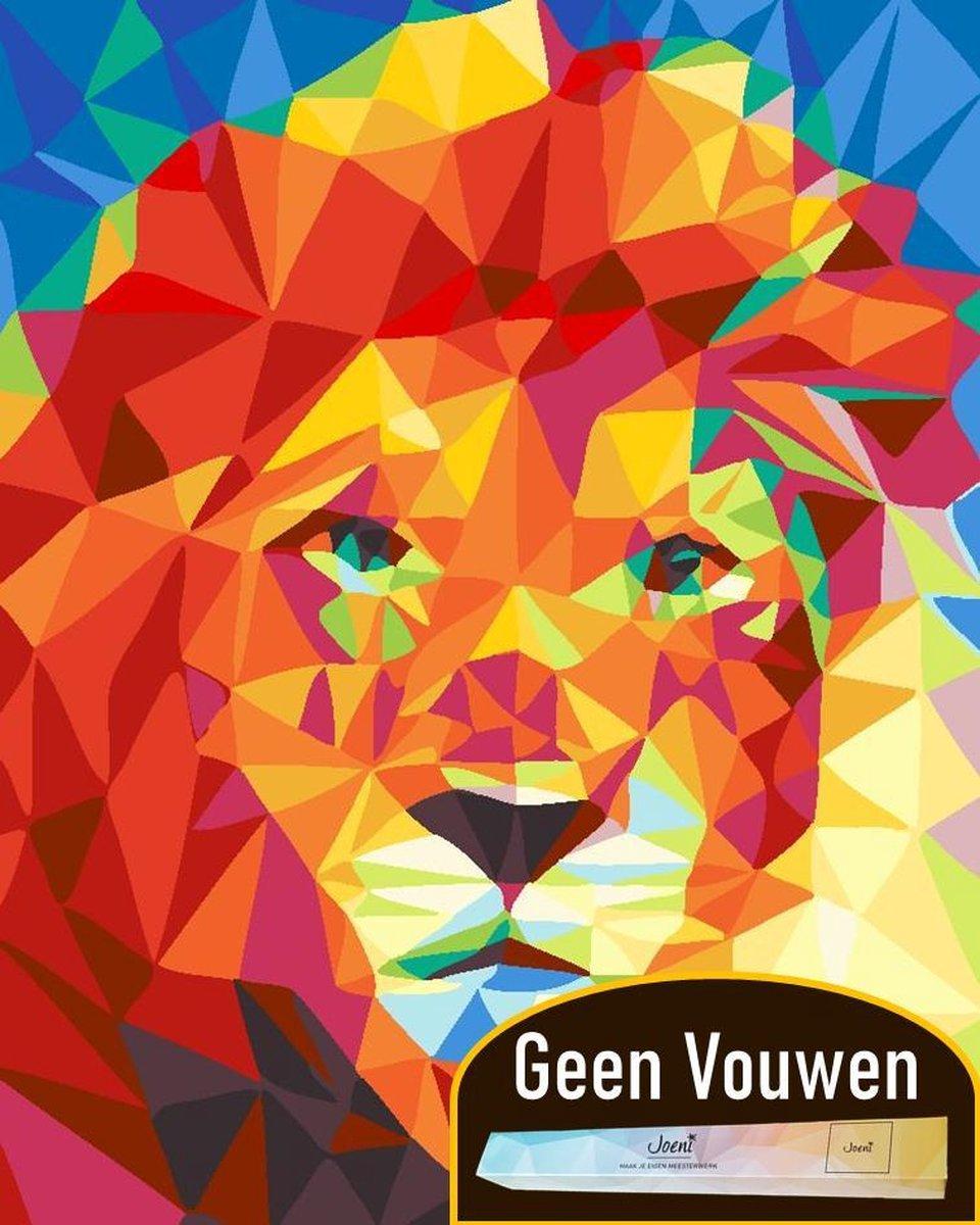 Joeni® Schilderen Op Nummer - 40x50 cm - Abstracte Dieren: Geometrische Leeuw - Volwassenen - Geschenkverpakking