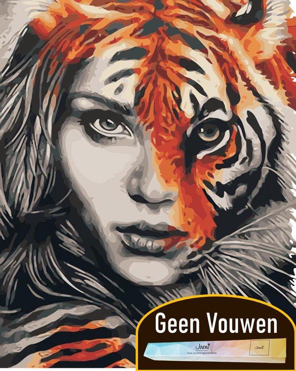 Joeni® Schilderen Op Nummer - 40x50cm - Abstracte Kunst: Vrouw en Tijger - Volwassenen - Geschenkverpakking