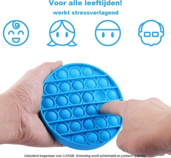 LUVIQ Pop it Fidget Toy  - Blauw - Ronde vorm