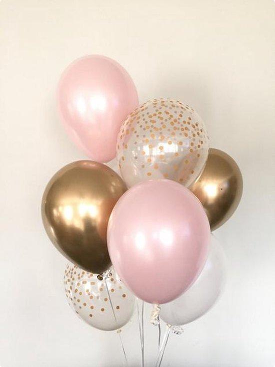 Luxe Metallic Ballonnen - Confetti Goud / Goud / Wit / Licht Roze - Set van 9 Stuks - Geboorte - Babyshower - Bruiloft - Valentijn - Verjaardag