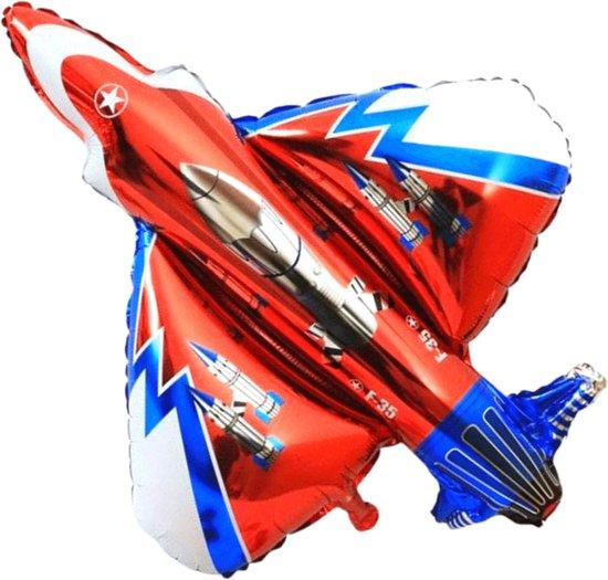 Vliegtuig Ballon - XL Groot 105 x 100 cm - Inclusief Opblaasrietje - Ballonnen - Ballonnen Verjaardag - Helium Ballonnen - Folieballon - Straaljager - Gevechtsvliegtuig - Rood