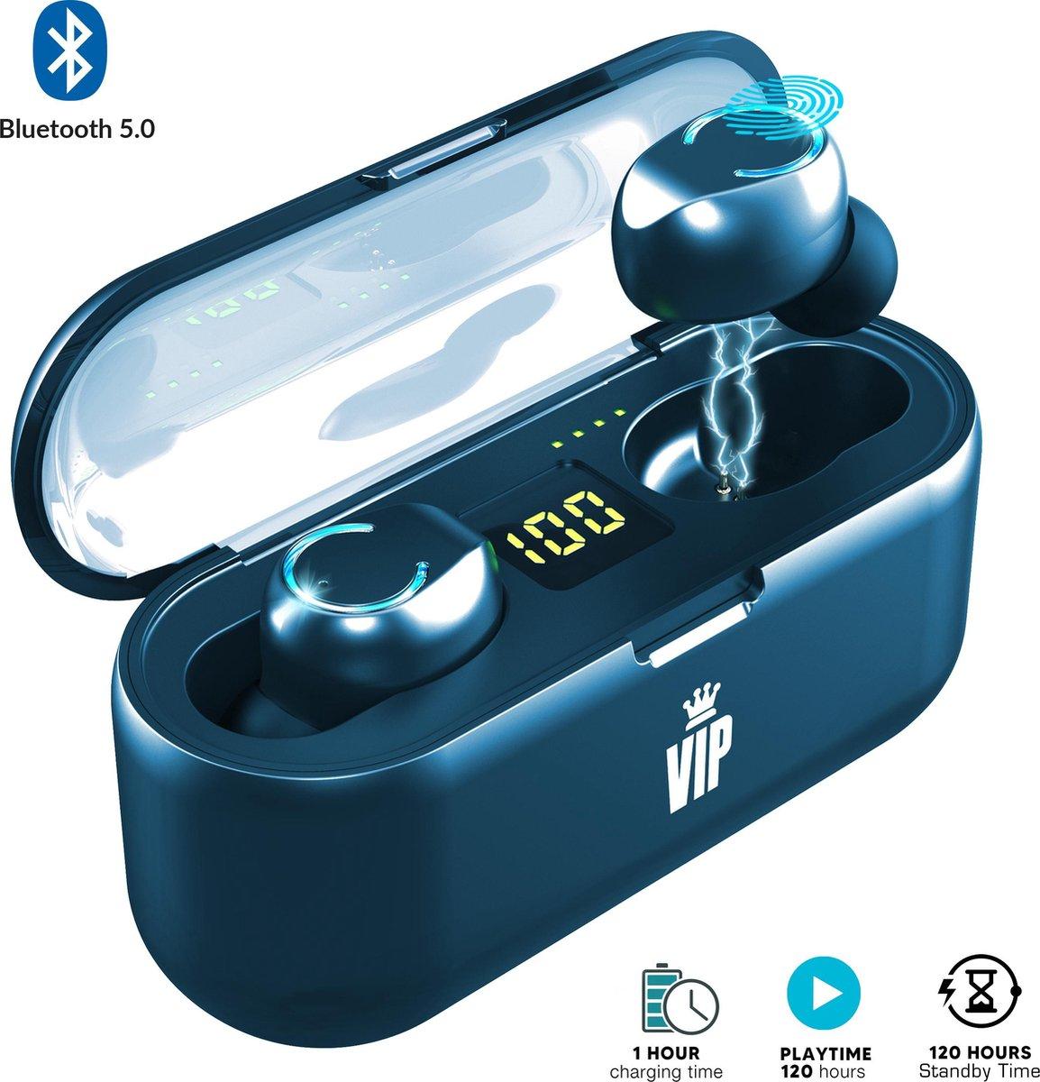 VIP Draadloze Oordopjes Bluetooth 5.0 Wireless Earbuds met Display – Oplaadcase – Waterproof oortjes – Samsung / Iphone / Universeel