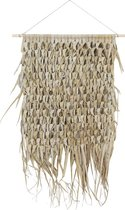 Wandkleed gevlochten palmblad aan stok 80cm naturel