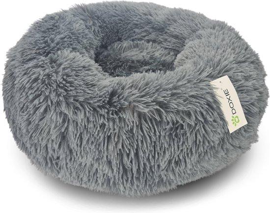 Doxie® Pluche Fluffy Donut Hondenmand – Kattenmand – Hondenkussen – Kattenkussen – Wasbaar – Antislip – ⌀ 80 cm – Donkergrijs