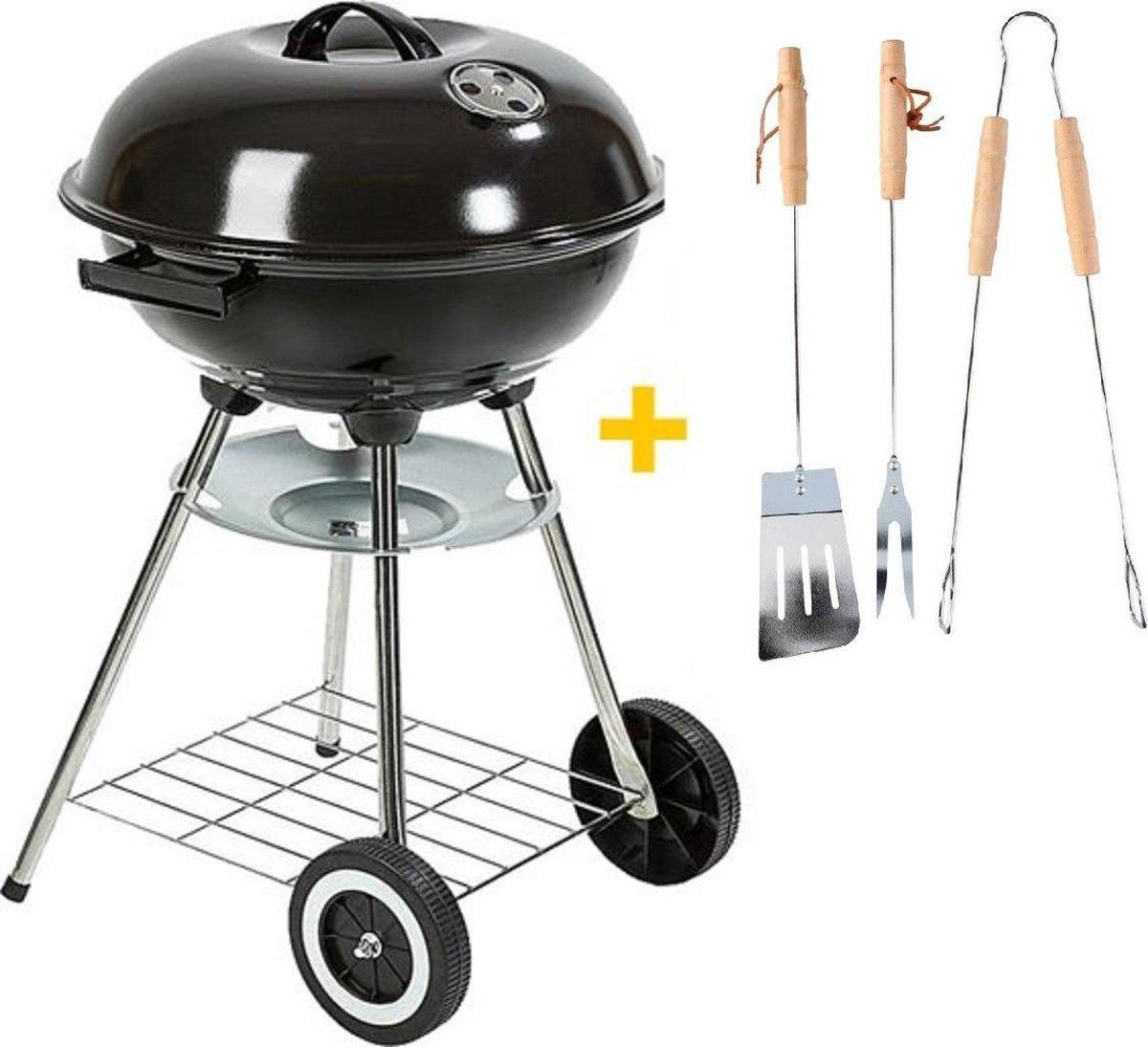 MaxxGarden Houtskool Barbecue - Grilloppervlak Ø 45 cm - Met Gereedschap - Zwart