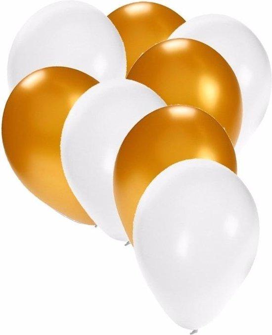 60x stuks party ballonnen wit en goud 27 cm - witte / gouden feestartikelen versieringen
