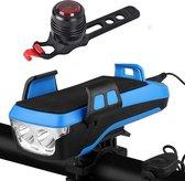 Activ24™ - Fietslamp set 4 in 1 - Telefoonhouder fiets - USB oplaadbaar - Inclusief Achterlicht en handige Activ24 LED zaklamp - Powerbank - Oplaadbare fietsverlichting  - Geen verzendkosten