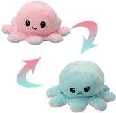 Octopus knuffel - Mood knuffel - Roze - Blauw - Blij/Boos knuffel - Omkeerbaar - Emotie knuffel
