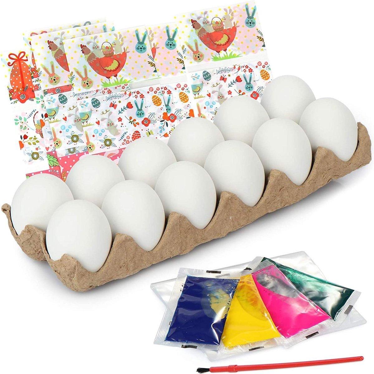 COM-FOUR® 48-delige eierverfset, decoratieve eieren met verf en penseel en krimpfolie voor het versieren van paaseieren, zelf eieren schilderen voor Pasen (48 delig - schilderset - Paaseieren)
