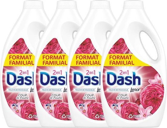 Dash - vloeibaar wasmiddel - Love at first sight - 4 x 2, 475 L (180 wasbeurten) - Voordeelverpakking