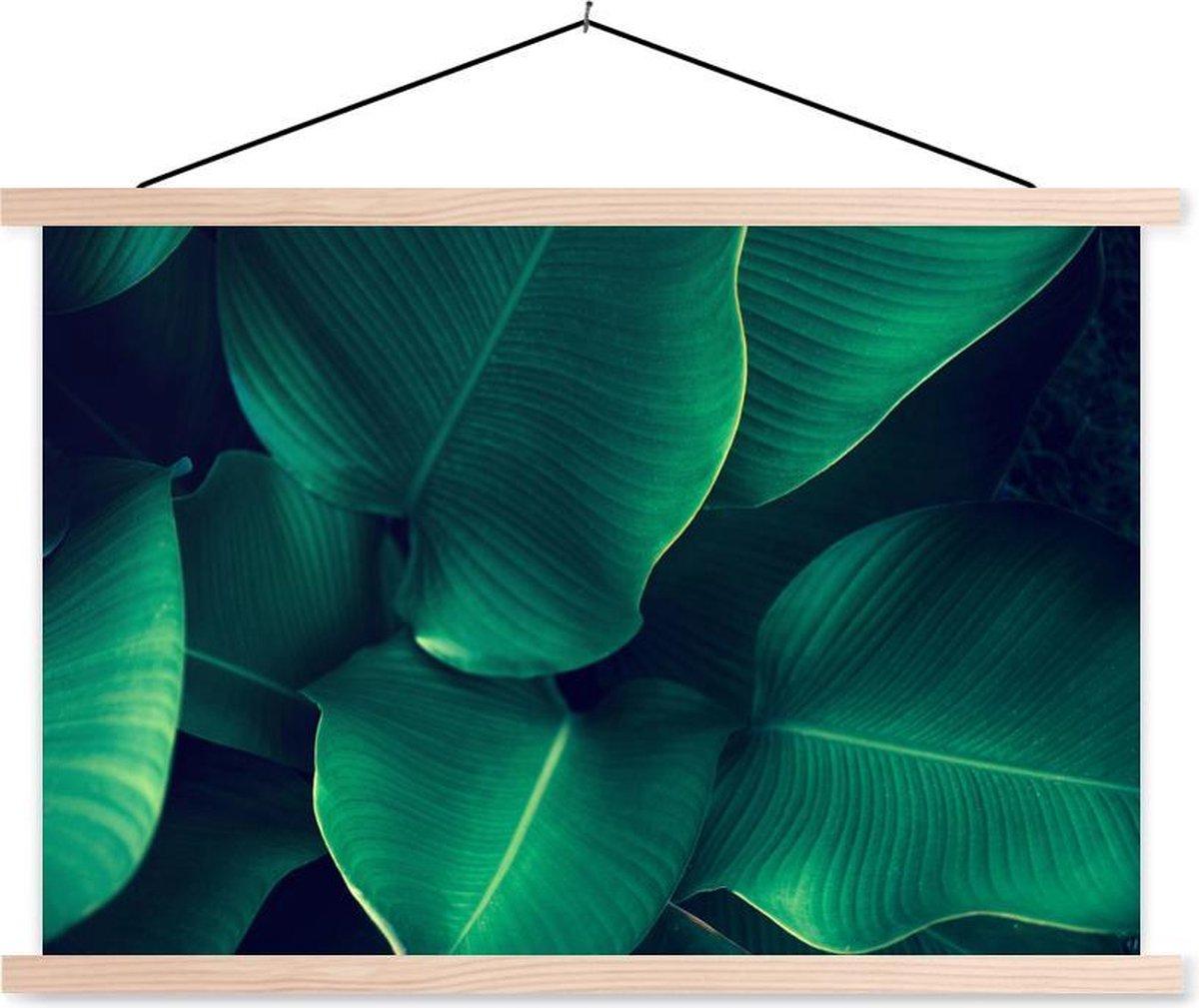 Close-up van tropische bladeren textielposter latten blank 150x100 cm - Foto print op schoolplaat (wanddecoratie woonkamer/slaapkamer) / Zee en Strand