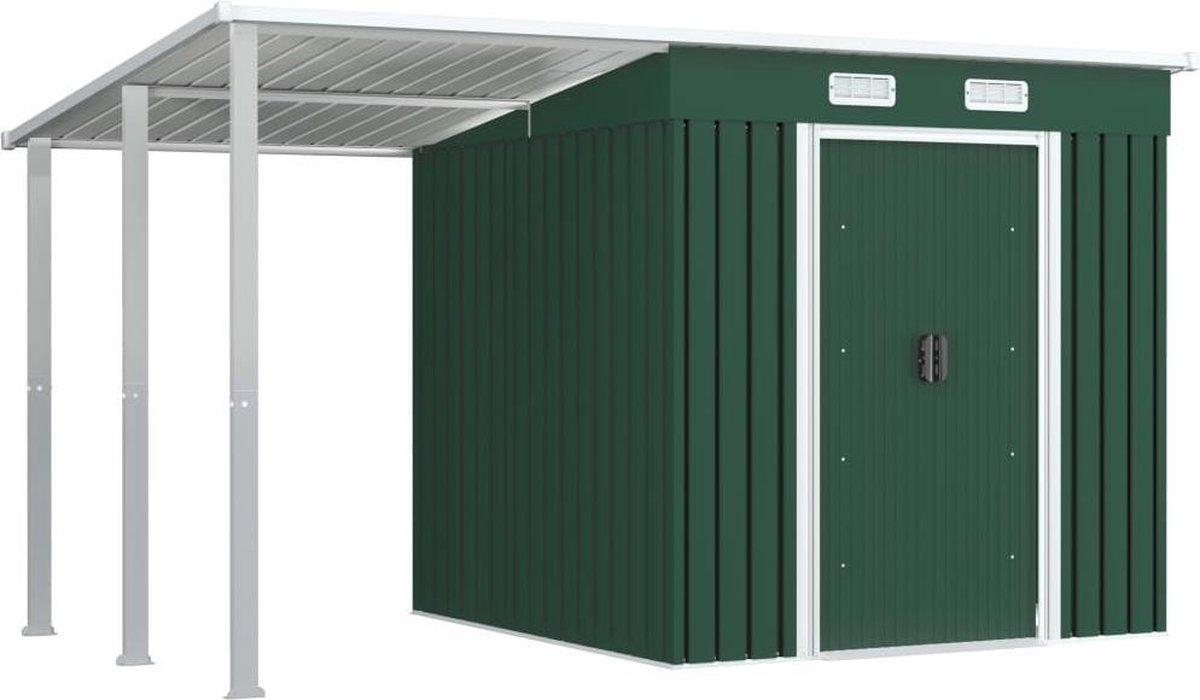 VidaXL Tuinschuur met verlengd dak 346x193x181 cm staal groen VDXL_144037 online kopen