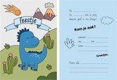 Uitnodiging kinderfeestje jongen - dino - 8 stuks - dinosaurus - blauw
