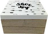 Opbergdoos / Sierdoosje met de tekst ''Shot of Joy'' - Bruin / Wit / Zwart - Hout - 15 x 15 cm