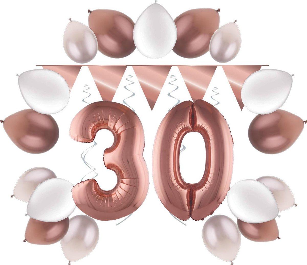 e-Carnavalskleding.nl Feestversiering pakket rosé 30 jaar   Versiering 30e verjaardag   30 jaar feestversiering pakket rosé compleet   Leuk pakket rosé met feestartikelen voor de 30e verjaardag Small