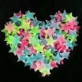 50 Multikleurige Sterren aan de hemel - Glow in the dark sterren - lichtgevende Multikleurige  sterren - Leuk voor in de kinderkamer - 50 stuks