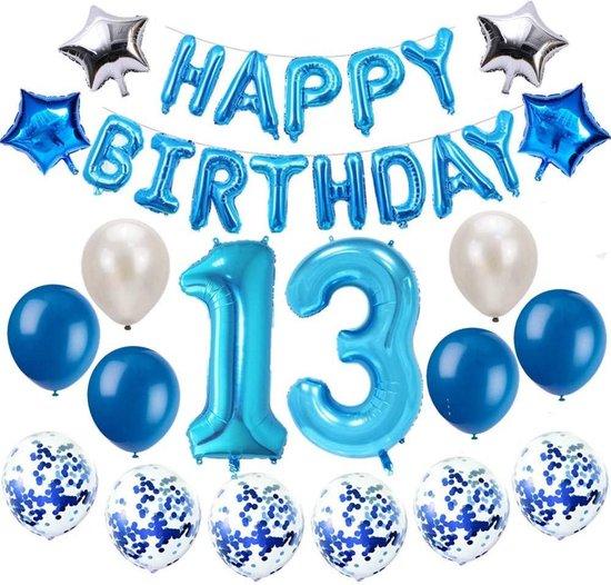 Feestversiering Happy Birthday 1 Jaar of 3 Jaar of 13 Jaar Party Feestje - Ballonnen - Verjaardag banner - Blauw