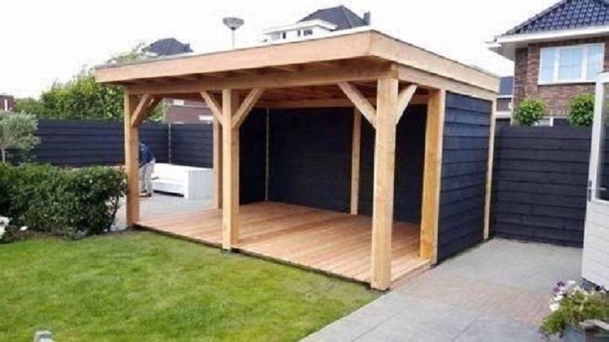 Douglashout overkapping - 5x3 - houtpakket zonder wanden - plat dak - staanders 15x15 - kwaliteit