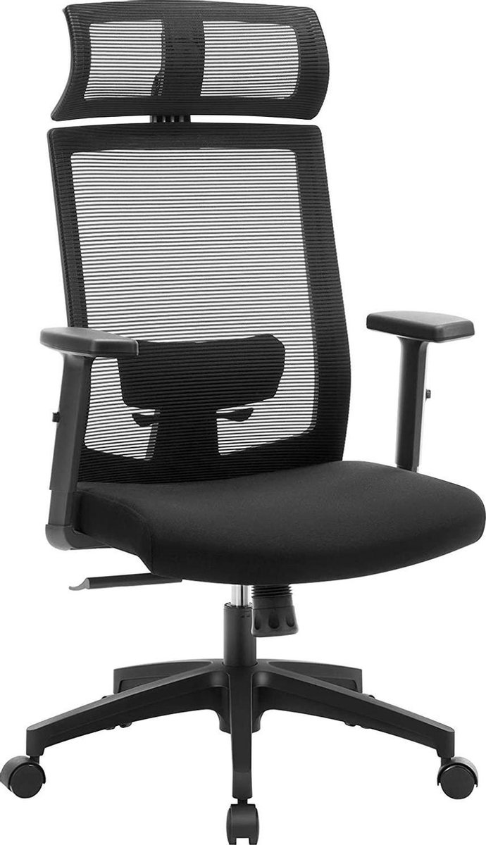 Nancy's Omak Bureaustoel - Kantoorstoel - Ergonomisch - 360°-draaistoel - Lendensteun - Hoofdsteun - Verstelbaar - Kantelbaar - Zwart