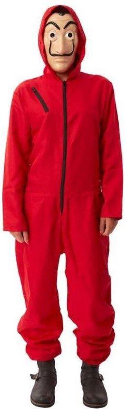 La casa de papel kostuum met masker   rode overall outfit - maat XL/XXL
