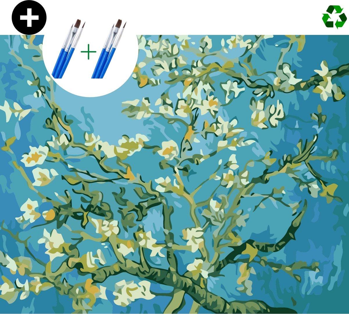 deeds.® - Schilderen op nummer volwassenen - Paint by number - Verven op nummer - Bloemen Van Gogh - DIY set +Extra Penselen!