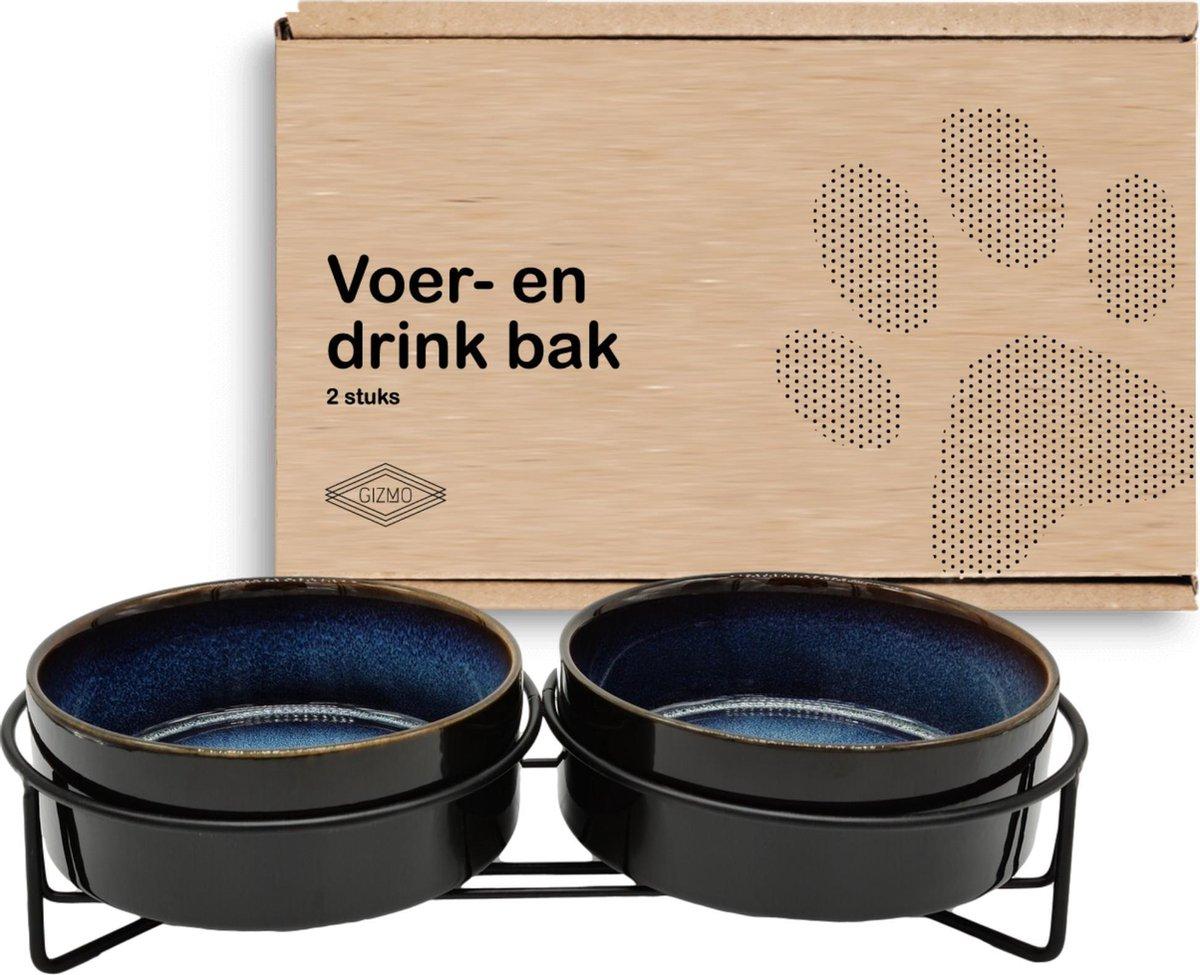 GIZMO Voerbak Kat Dubbel - Zwart/Blauw - 2 Keramische Drink- & Voerbakken met Standaard - Drinkbak -