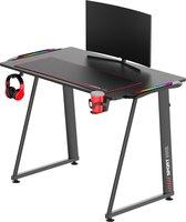 Game Bureau met RGB led verlichting, XL muismat, bekerhouder en koptelefoonhouder 110x60x75 cm Zwart - Game tafel - computer tafel met verlichting - Gaming bureau desk