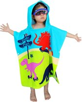 JAXY Badcape Baby - Badcape - Baby Badjas - Omslagdoek - Omslagdoek - Baby Handdoek Met Capuchon - Strandhanddoek - Badponcho - Poncho Handdoek - Microfiber - 60x90cm - Dino