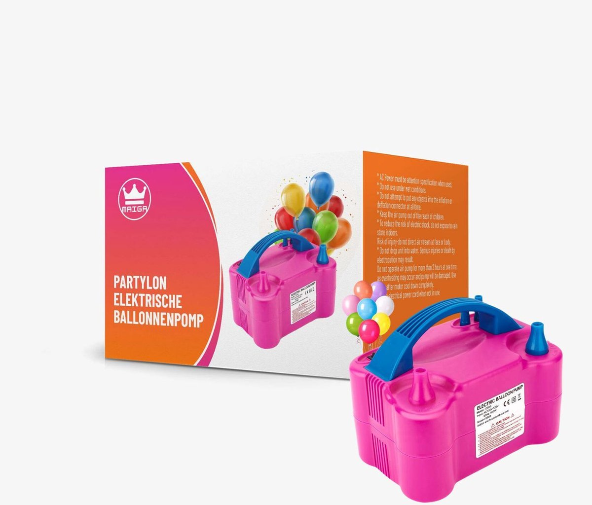 PartyLon  Elektrische Ballonenpomp - Ballonpomp - Elektrische Ballon Pomp - Rood Blauw 120 V - 600 W