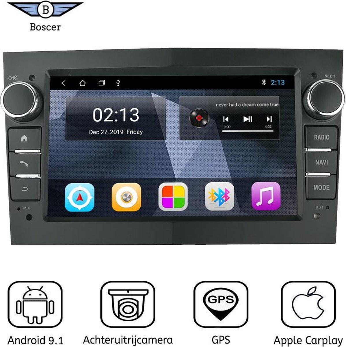 Boscer® Opel Autoradio | Android 9.1 | Apple Carplay | Android Auto | Navigatiesysteem | Zwart | Achteruitrijcamera