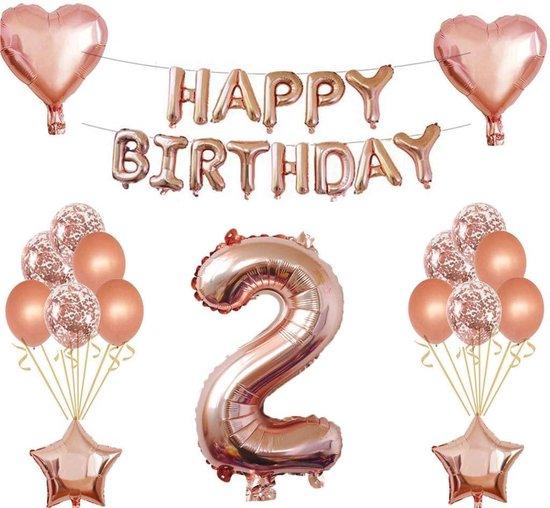 Feestversiering Happy Birthday 2 Jaar of 4 Jaar Party Feestje - Ballonnen - Verjaardag  banner - Rosé goud - Meisje - Roze