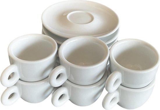 Espresso Kopjes - Espressokopjes - Espresso - Set van 6 - Porselein - Koffie Kopjes - 50ml - met Schotel