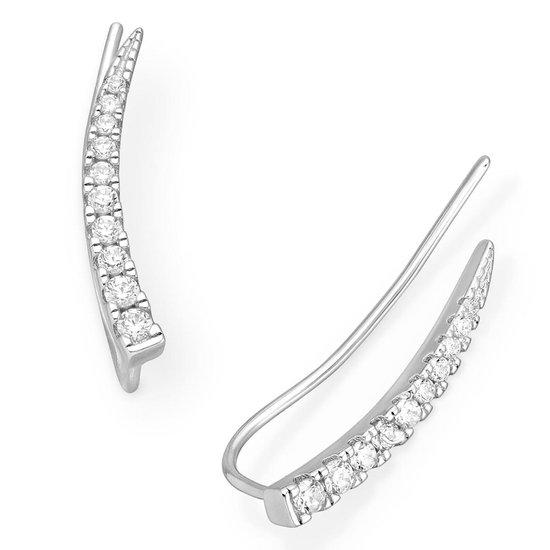EAR IT UP - Oorklimmers - Ear climbers - Earclimbers - Ear crawlers - Gerhodineerd zilver - Zirkonia - Pavézetting - 18 x 2 mm - 1 paar