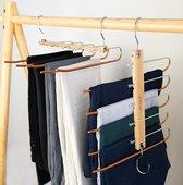 JoFlow Premium 5-in-1 Broekhanger of Kledinghanger | Ruimtebesparende Antislip Klerenhanger Hout Bamboe | Hang tot wel 5 kledingstukken op!