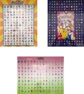 Pokemon Poster Voordeelset  - 3 Posters (50x40 cm) - Geplastificeerd (Versie 6)
