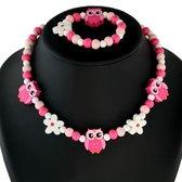 Fako Bijoux® - Kinderketting en Armband - Hout - Uiltjes & Bloemetjes Roze