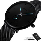 Quartz Horloge Unisex - Casual Roestvrij Staal - Heren Horloge - Dames Horloge - Waterdicht - Quick Release Bevestiging - Cadeau Giftbox - Black Blue Design - Ø 40 mm - CRRJU