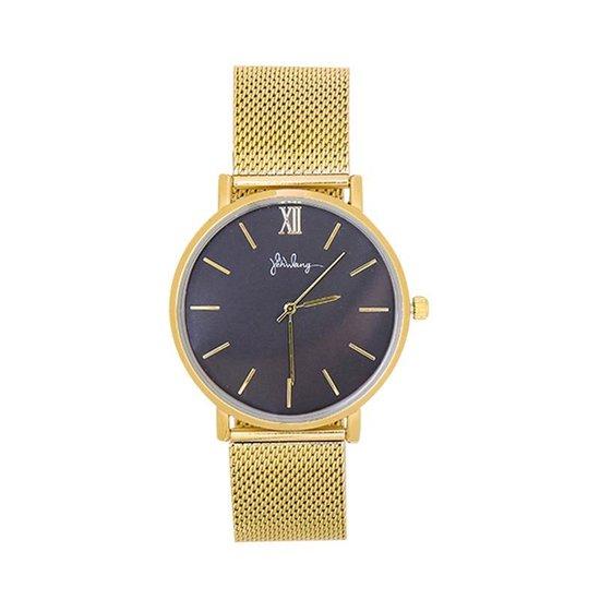 Yoonz – Yehwang – Dames Horloge – Stalen Horlogeband – Stainless Steel – Goud / Zwart