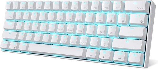 RK61 Gaming Keyboard Wit - LED Verlichting - Ergonomisch Mechanisch Gaming Toetsenbord Met Draadloos Verbinding - Qwerty - 60% Met Multimedia Toetsen - Red Switches