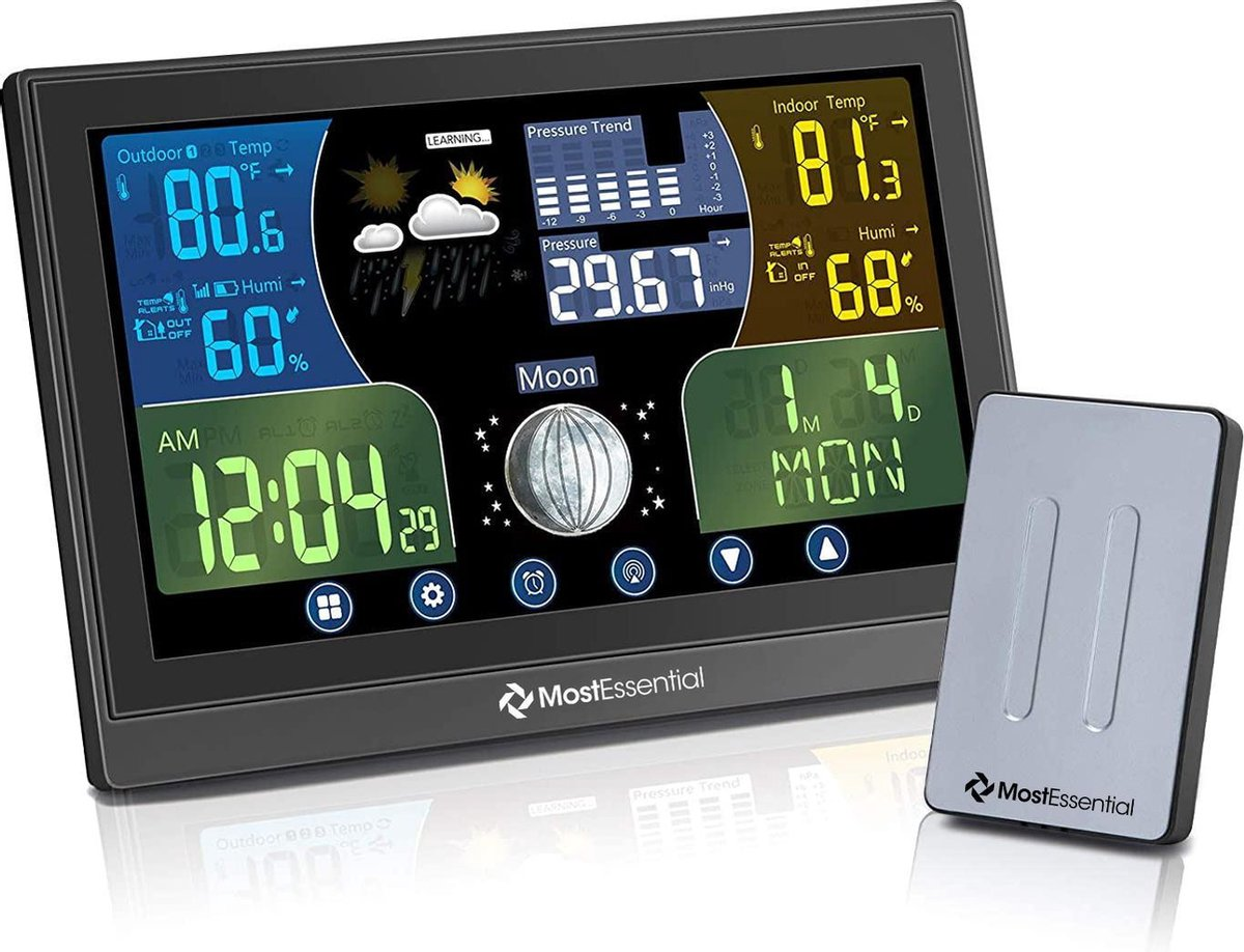 MostEssential Premium Weerstation - Hygrometer Binnen   Weerstation Binnen en Buiten   Luchtvochtigh
