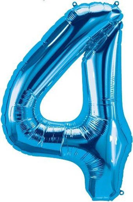 Helium ballon - Cijfer ballon - Nummer 4 - 4 jaar - Verjaardag - Blauw - Blauwe  ballon - 80cm