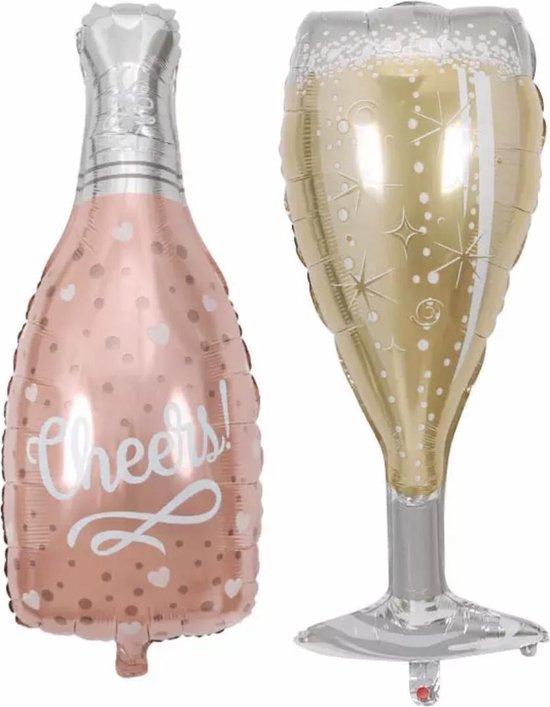 Folieballon Cheers fles met glas -groot formaat -Helium